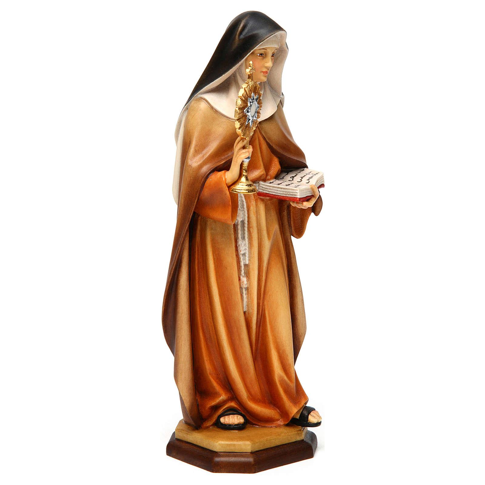 Statue Sainte Claire d'Assise avec ostensoir bois peint Val Gardena 4