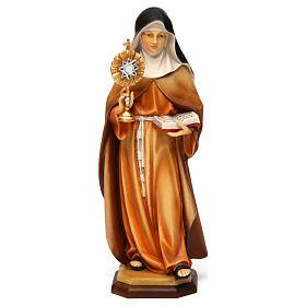 Statues en bois peint: Statue Sainte Claire d'Assise avec ostensoir bois peint Val Gardena