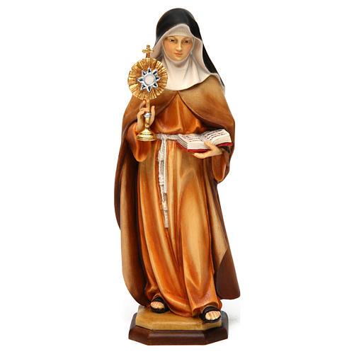 Statue Sainte Claire d'Assise avec ostensoir bois peint Val Gardena 1