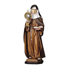 Statua Santa Chiara d'Assisi con ostensorio legno dipinto Val Gardena s1