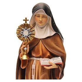 Statua Santa Chiara d'Assisi con ostensorio legno dipinto Val Gardena s2