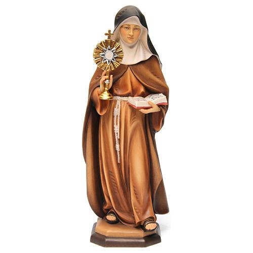 Statua Santa Chiara d'Assisi con ostensorio legno dipinto Val Gardena 1