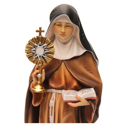 Statua Santa Chiara d'Assisi con ostensorio legno dipinto Val Gardena 2