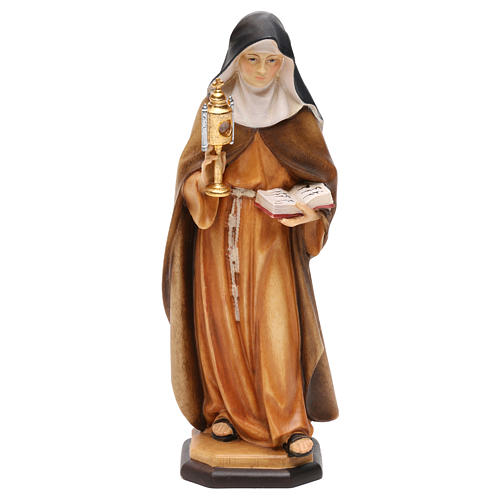 Statue Sainte Claire d'Assise avec custode à hosties bois peint Val Gardena 1