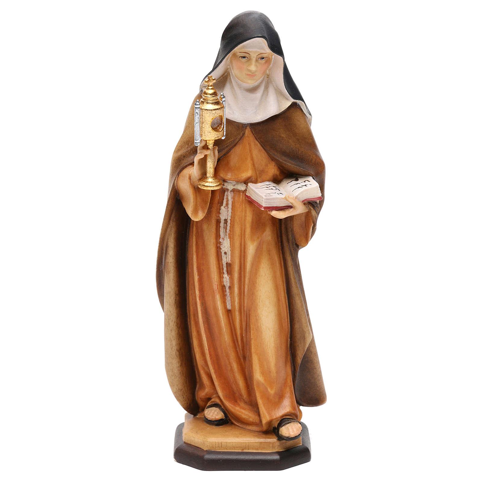 Statua Santa Chiara d'Assisi con teca eucaristica legno dipinto Val Gardena 4