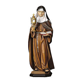 Statua Santa Chiara d'Assisi con teca eucaristica legno dipinto Val Gardena s1