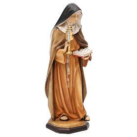 Statua Santa Chiara d'Assisi con teca eucaristica legno dipinto Val Gardena s4