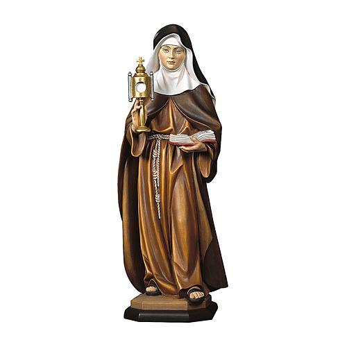 Statua Santa Chiara d'Assisi con teca eucaristica legno dipinto Val Gardena 1