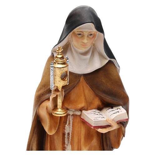 Statua Santa Chiara d'Assisi con teca eucaristica legno dipinto Val Gardena 2