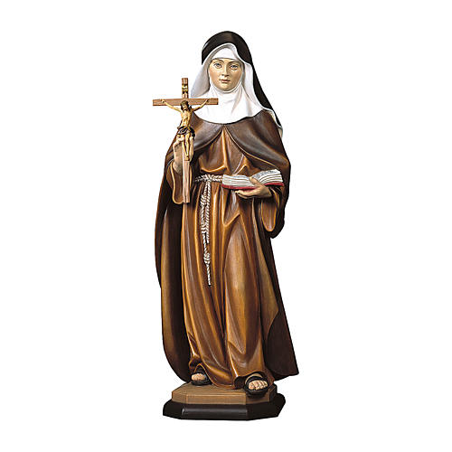 Santa S. Maria Crescentia Höss da Kaufbeuern con crocifisso legno dipinto Val Gardena 1
