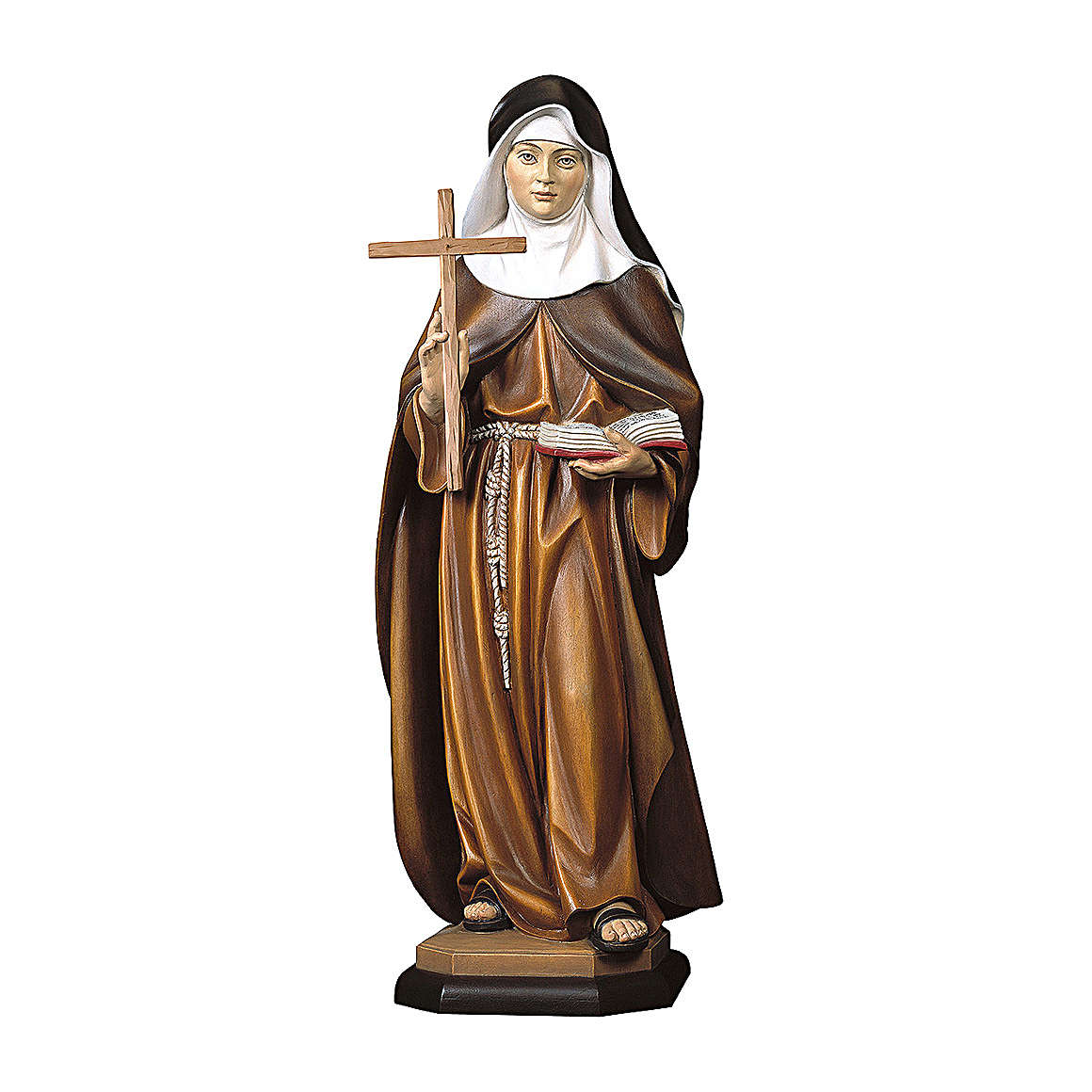 Statue of St. Angela of Foligno with cross in painted wood from Val Gardena 4