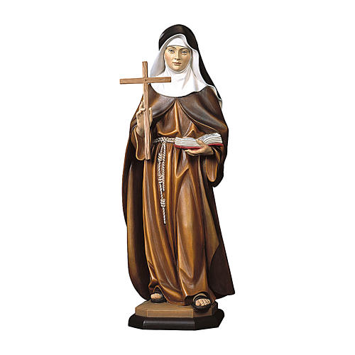 Statue Ste Angèle de Foligno avec croix bois peint Val Gardena 1