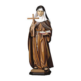 Hand painted wooden statues: Saint Sister Angela of Foligno Statue with Cross wood painted Val Gardena