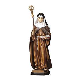 Statua Santa Adelgunde da Maubeuge con pastorale legno dipinto Val Gardena s1