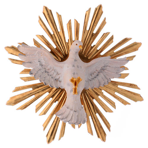 Statue of Holy Spirit with halo in painted wood from Val Gardena 1
