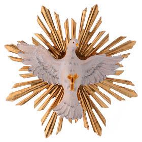 Imágenes de Madera Pintada: Estatua Espíritu Santo con corona de rayos madera pintada Val Gardena