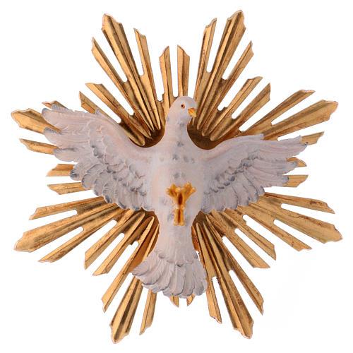 Estatua Espíritu Santo con corona de rayos madera pintada Val Gardena 1