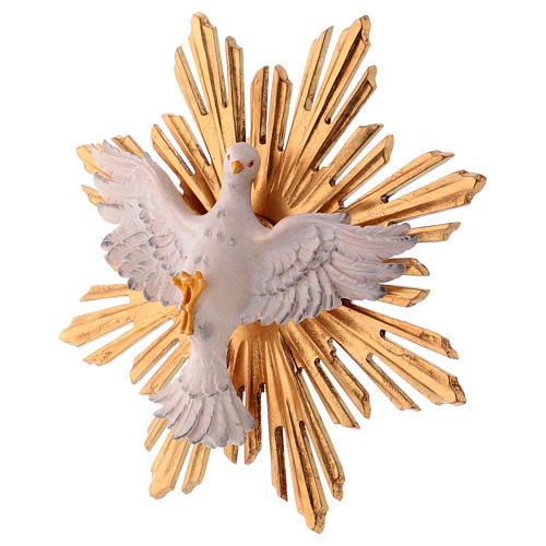 Estatua Espíritu Santo con corona de rayos madera pintada Val Gardena 4
