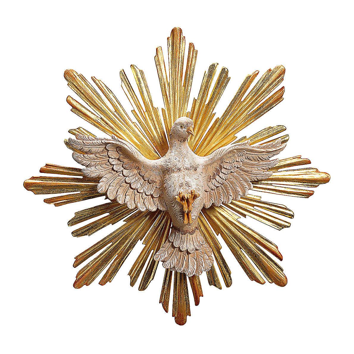 Statua Spirito Santo con raggiera legno dipinto Val Gardena 4