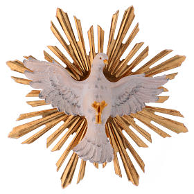 Hand painted wooden statues: Holy Spirit Statue with Rays of Light wood painted Val Gardena