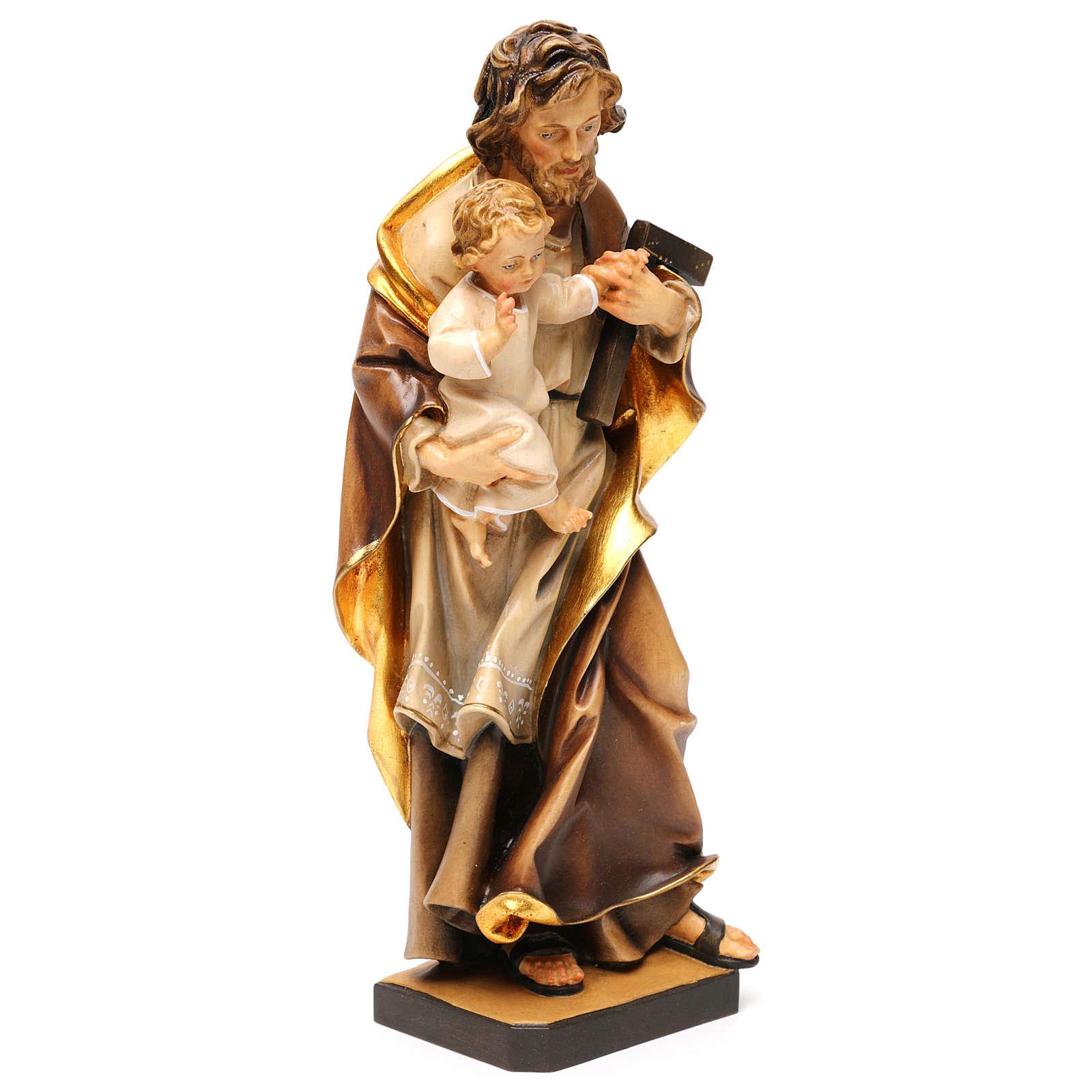 Heiliger Josef mit Kind Grödnertal Holz 4