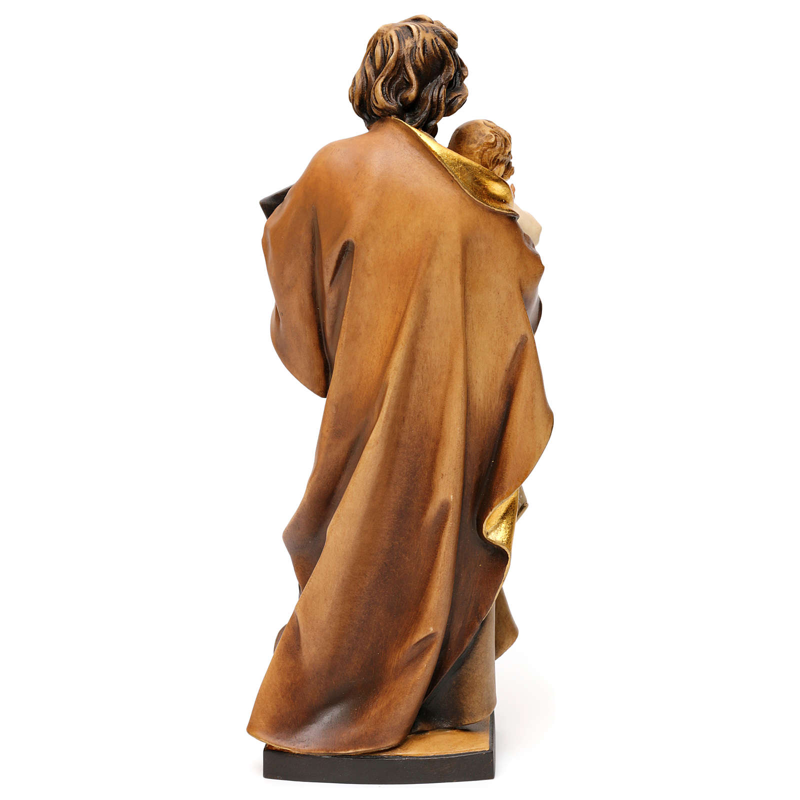 Saint Joseph avec enfant et équerre bois Val Gardena  4