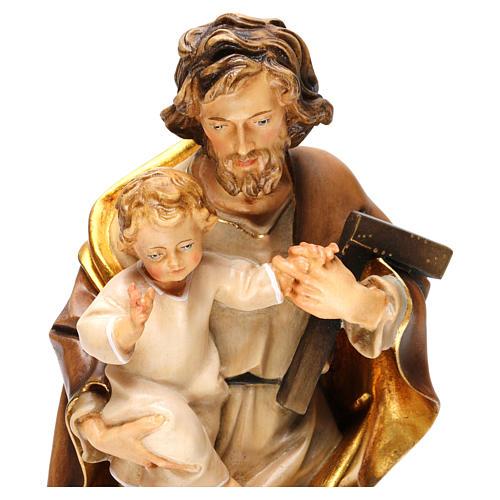 Saint Joseph avec enfant et équerre bois Val Gardena  2