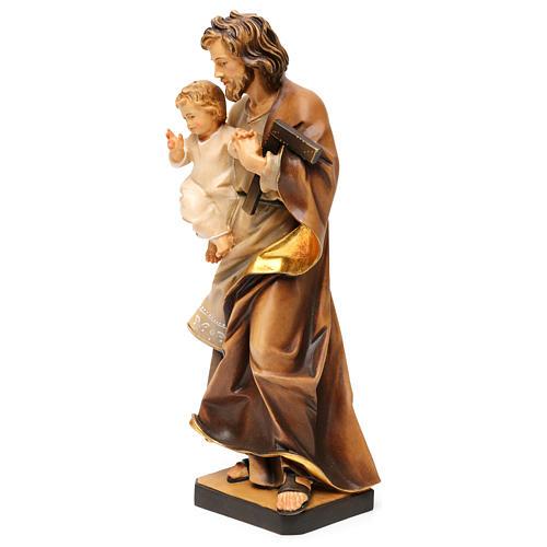 Saint Joseph avec enfant et équerre bois Val Gardena  3