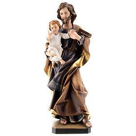 San Giuseppe con bambino e squadra legno Valgardena s6