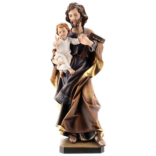 San Giuseppe con bambino e squadra legno Valgardena 6