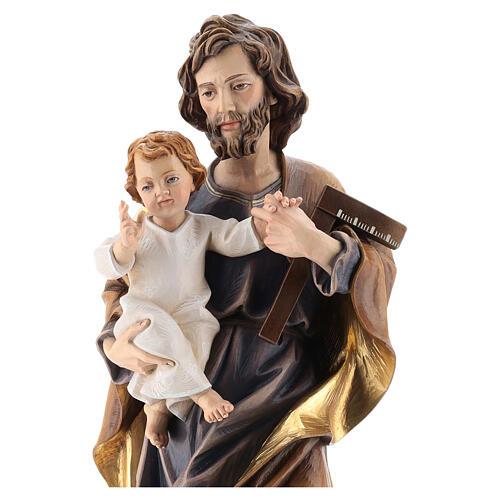 San Giuseppe con bambino e squadra legno Valgardena 7
