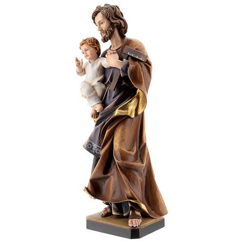 San Giuseppe con bambino e squadra legno Valgardena 8