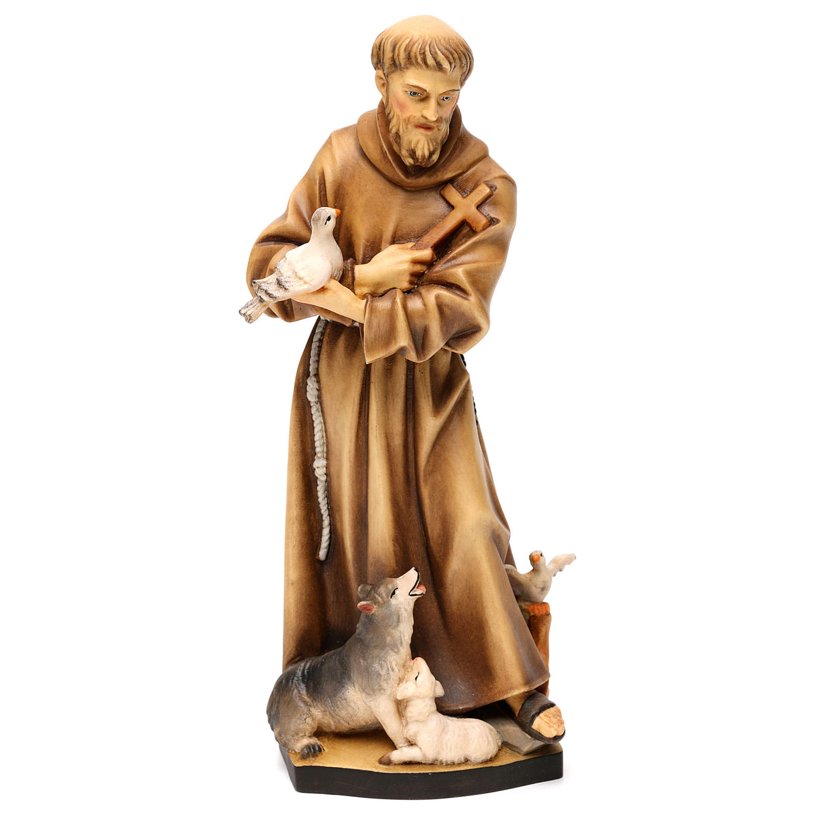 St. Francis of Assisi with animals statue in wood, Val Gardena 4