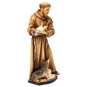 St. Francis of Assisi with animals statue in wood, Val Gardena s4