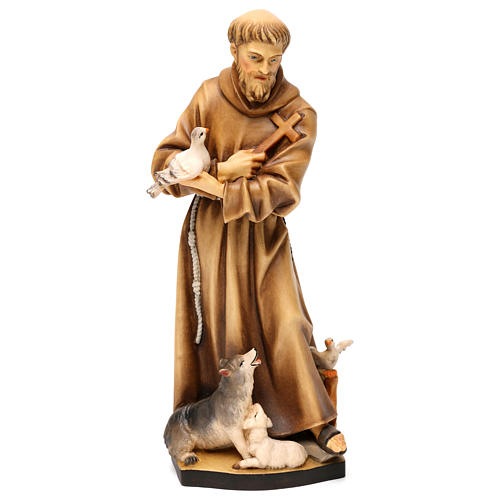 St. Francis of Assisi with animals statue in wood, Val Gardena 1