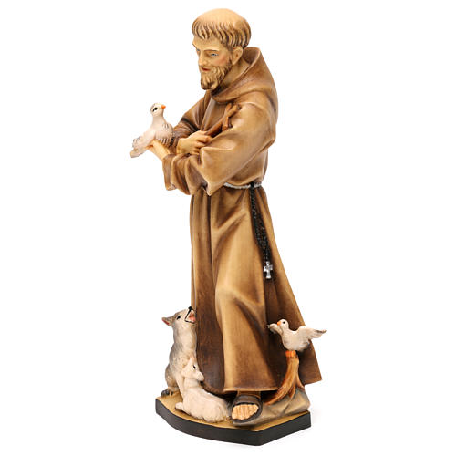 St. Francis of Assisi with animals statue in wood, Val Gardena 3