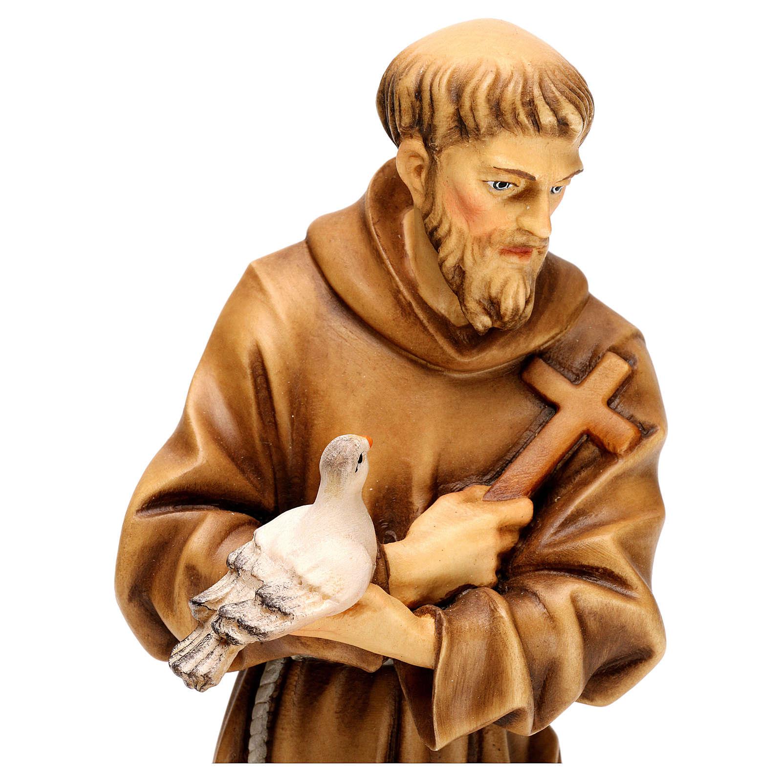 San Francesco d´Assisi con animali legno Valgardena 4