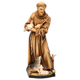 Hand painted wooden statues: Saint Francis of Assisi with animals in Valgardena wood