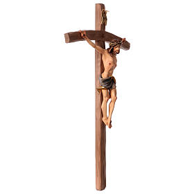 Crucifix in wood, curved cross and blue garment, Val Gardena s3
