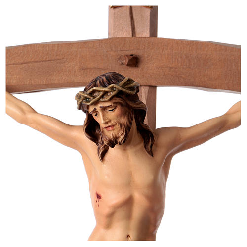 Crucifix in wood, curved cross and blue garment, Val Gardena 2