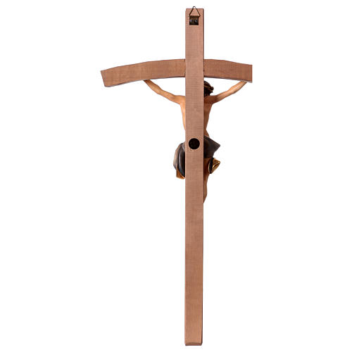 Crucifix in wood, curved cross and blue garment, Val Gardena 5