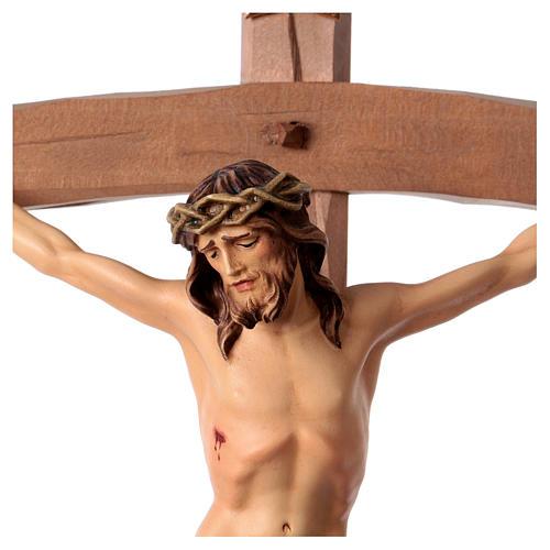 Ukrzyżowany Nazarejczyk Krzyż zakrzywiony Niebieski drewno Valgardena 2