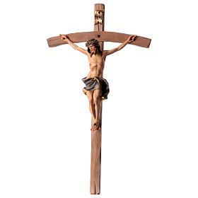 Crucifixo Nazareno cruz curva azul escuro madeira Val Gardena s1