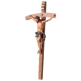 Crucifixo Nazareno cruz curva azul escuro madeira Val Gardena s4