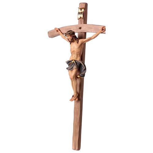 Crucifixo Nazareno cruz curva azul escuro madeira Val Gardena 4