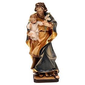 Heiliger Josef mit Kind und Lilie Grödnertal Holz s1