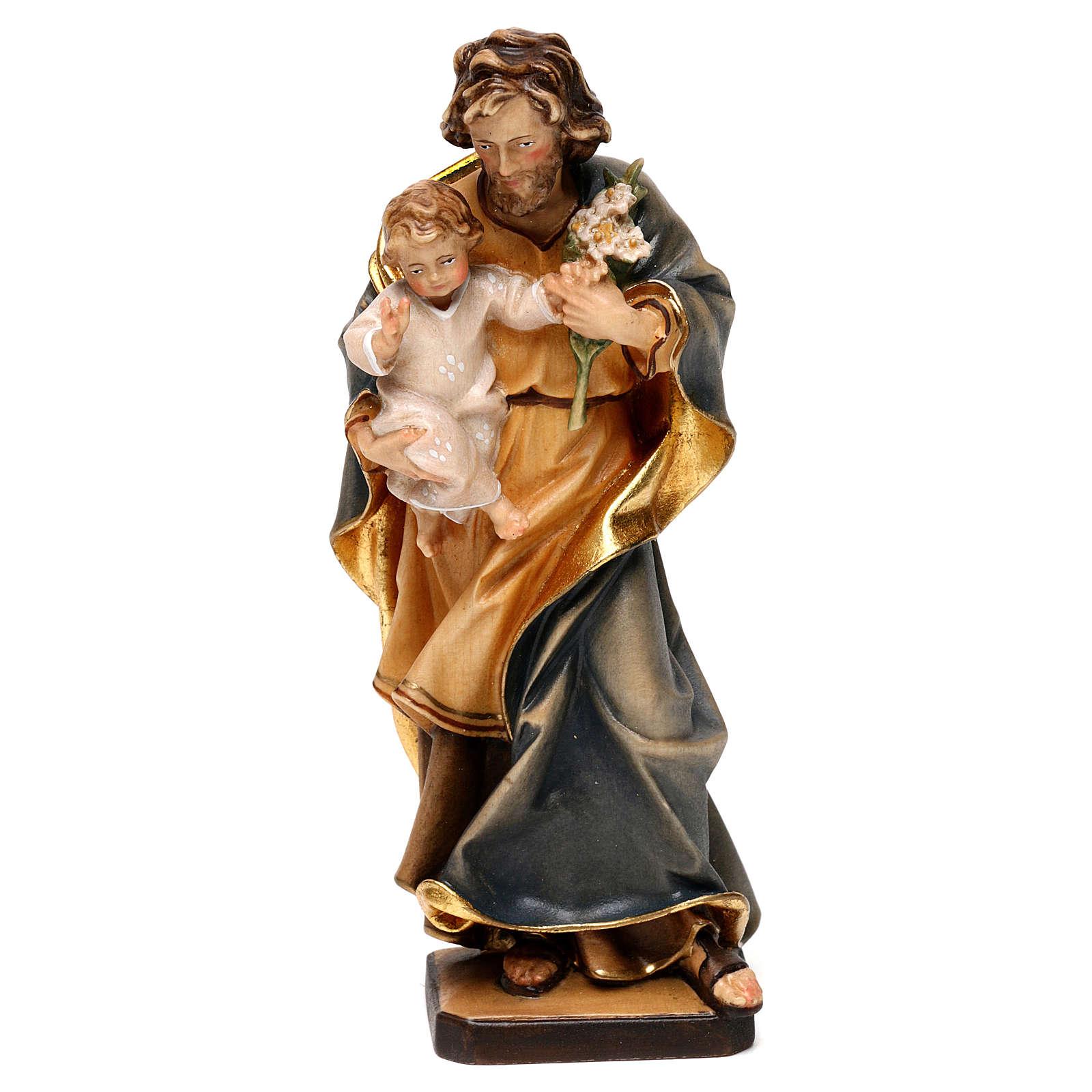 San Giuseppe con bambino e giglio legno Valgardena 4