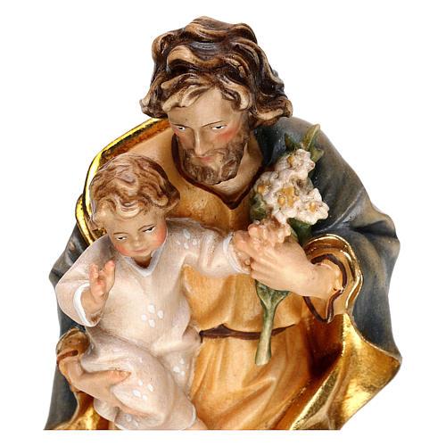 San Giuseppe con bambino e giglio legno Valgardena 2