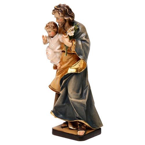 San Giuseppe con bambino e giglio legno Valgardena 3