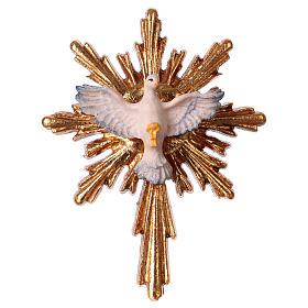 Imágenes de Madera Pintada: Espíritu Santo con corona de rayos larga madera Val Gardena